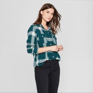 Tops - Green Plaid Long Sleeve Flannel Shirt western